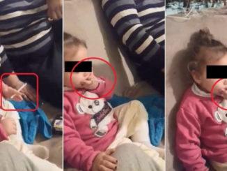 Fetița care fumează la Niculițel. FOTO Observator.tv