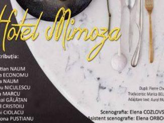 """Afișul piesei """"Hotel Mimoza"""" de la Teatrul Jean Bart Tulcea"""